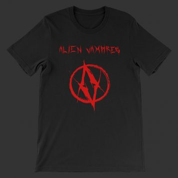 tshirt design 01 red 01 mockup Front Flat Black